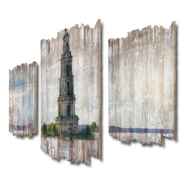 Versunkener Glockenturm Shabby chic 3-Teiler Wandbild aus Massiv-Holz