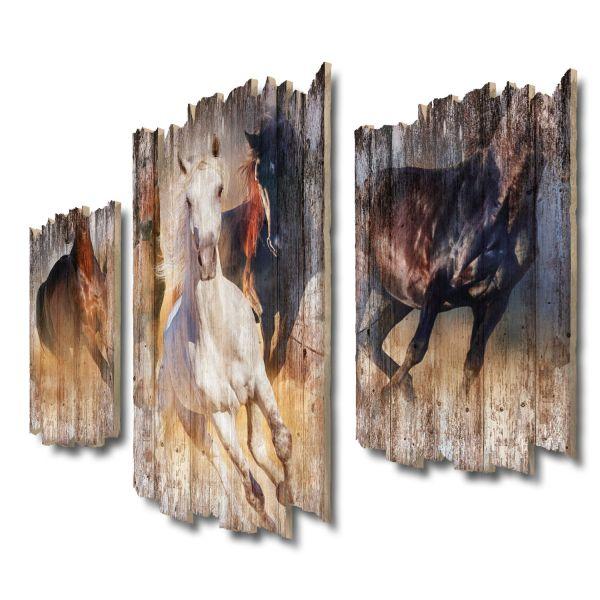 Wildpferde Shabby chic 3-Teiler Wandbild aus Massiv-Holz