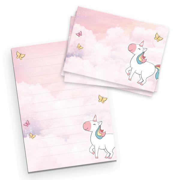 Briefpapier-Set für Kinder   Einhorn   DIN A5 Briefpapier-Block 50 Blatt mit 20 Umschlägen