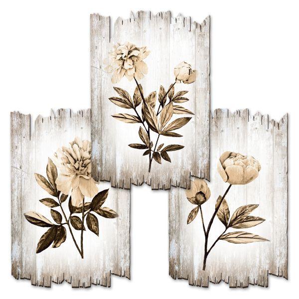 Blumen | Deko-Holzschilder im 3er Set | wahlw. in 30x20cm oder 30x45cm