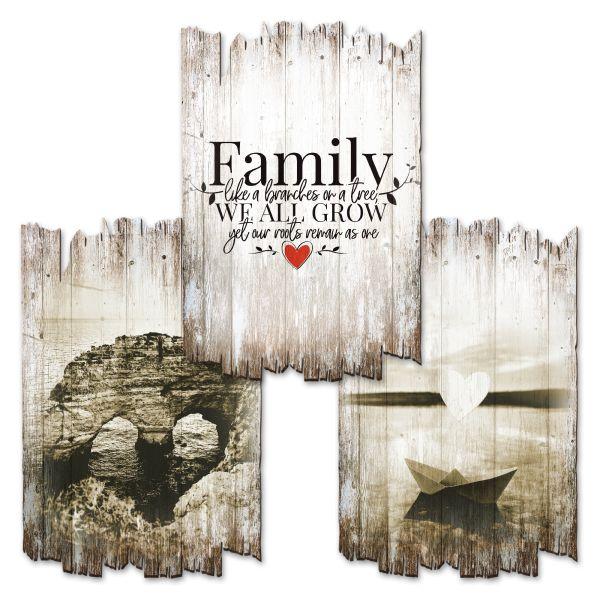 Family | Deko-Holzschilder im 3er Set | wahlw. in 30x20cm oder 30x45cm