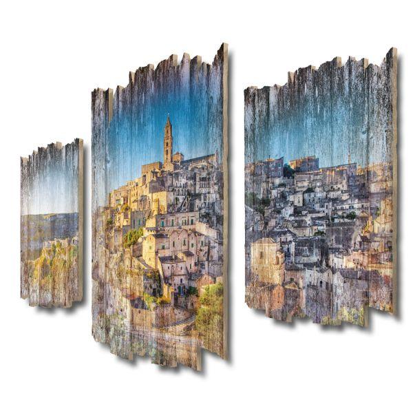 Matera-Panorama Shabby chic 3-Teiler Wandbild aus Massiv-Holz