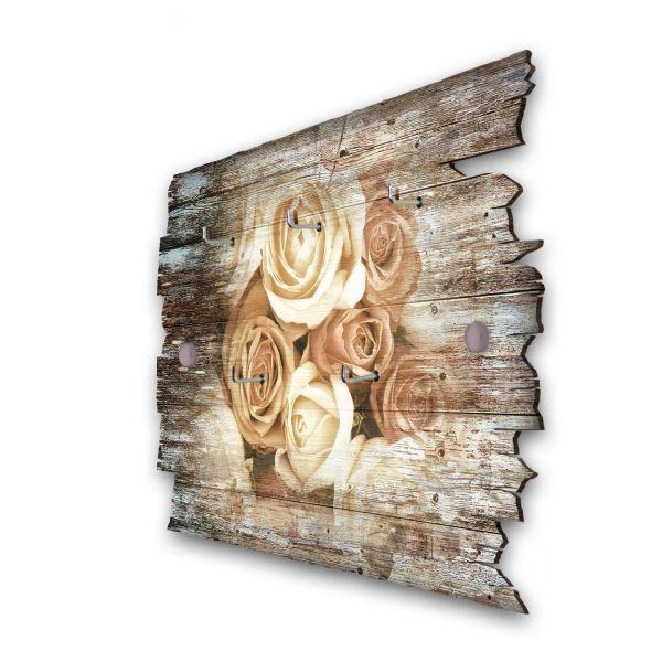Rosenstrauß Schlüsselbrett mit 5 Haken im Shabby Style aus Holz