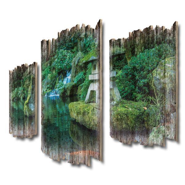 Steinlaterne Shabby chic 3-Teiler Wandbild aus Massiv-Holz