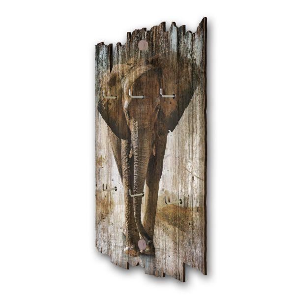 Elefant Schlüsselbrett mit 6 Haken im Shabby Style aus Holz