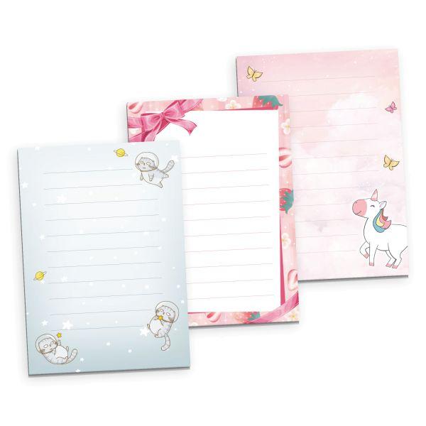 3er Briefpapier-Set für Kinder | Einhorn, Erdbeere, Katze | 3 DIN A5 Briefpapier-Blöcke à 50 Blatt