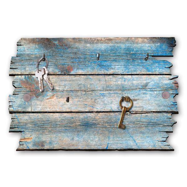 Holzstruktur blau Schlüsselbrett mit 5 Haken im Shabby Style aus Holz