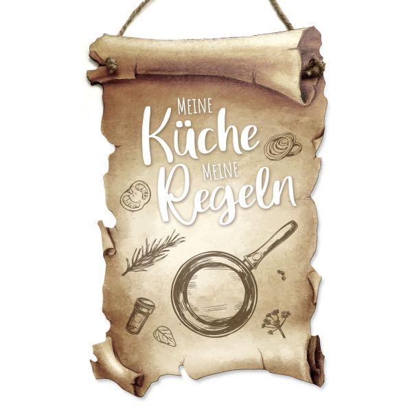 Deko-Schild aus Holz in Schriftrollen-Optik mit Spruch | Meine Küche | ideales Geschenk