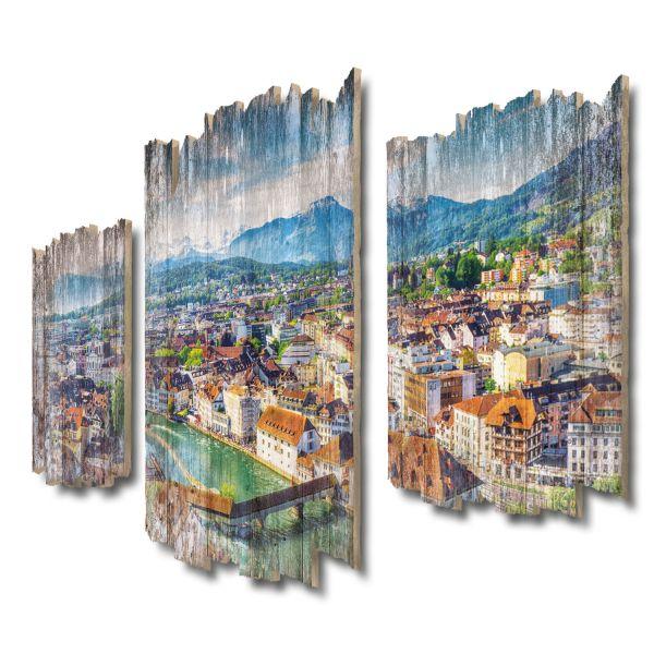 Altstadt Luzern Shabby chic 3-Teiler Wandbild aus Massiv-Holz