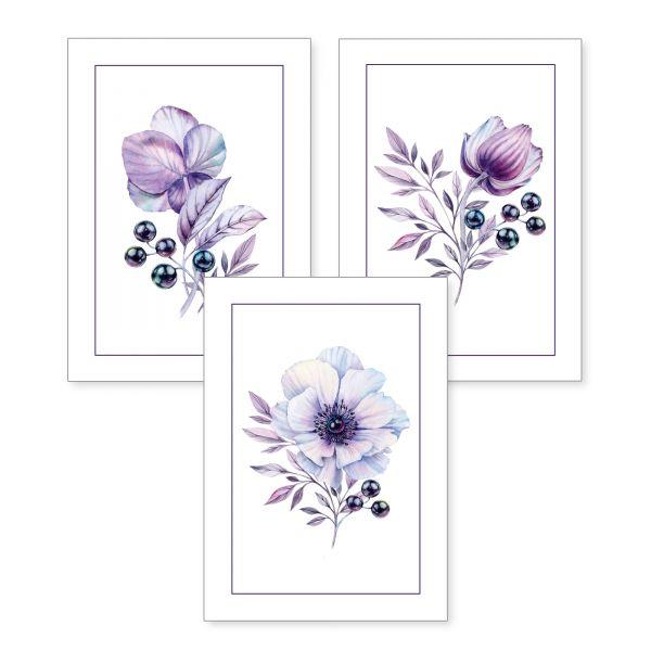 3-teiliges Poster-Set | Lila Blüten | optional mit Rahmen | DIN A4 oder A3