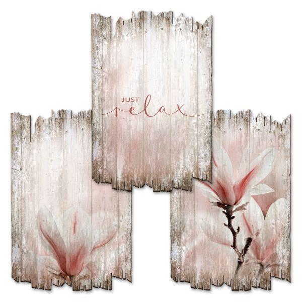 Relax | Deko-Holzschilder im 3er Set | wahlw. in 30x20cm oder 30x45cm