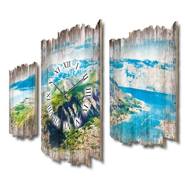 Küste und Berge Shabby chic Dreiteilige Wanduhr aus MDF mit leisem Funk- oder Quarzuhrwerk
