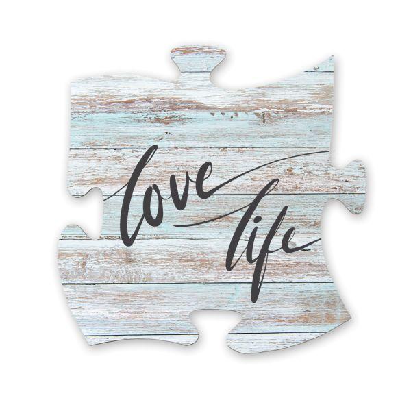 Love Life | Deko-Schild Holz-Puzzleteil ca. 30cm x 30cm | Shabby Chic Design