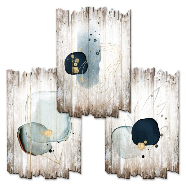 Abstrakte Formen | Deko-Holzschilder im 3er Set | wahlw. in 30x20cm oder 30x45cm