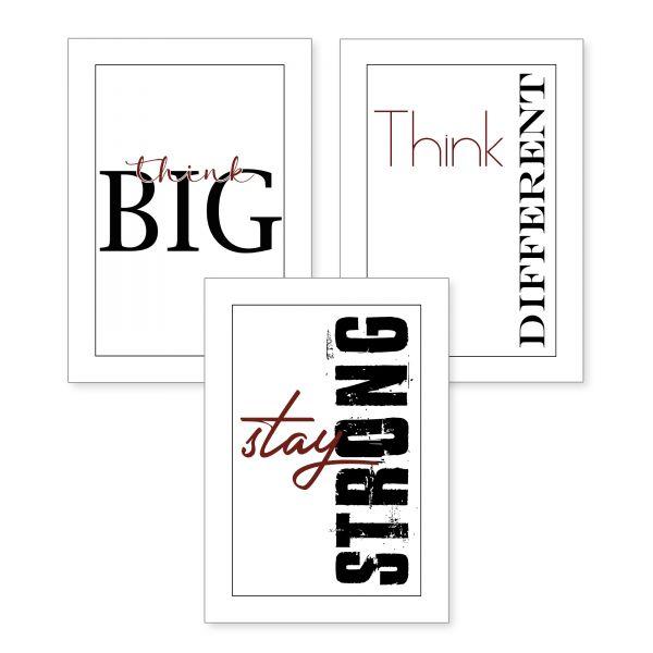 3-teiliges Poster-Set | Strong | optional mit Rahmen | DIN A4 oder A3