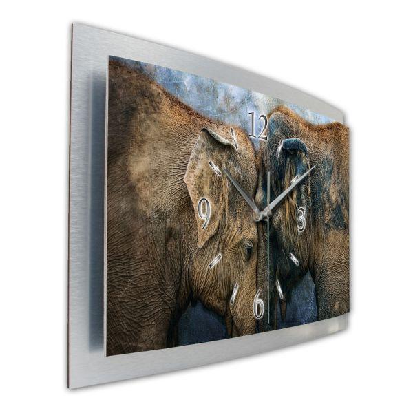 "3D Wanduhr ""Elefantenpaar"" aus gebürstetem Aluminium mit leisem Funk- oder Quarzuhrwerk"