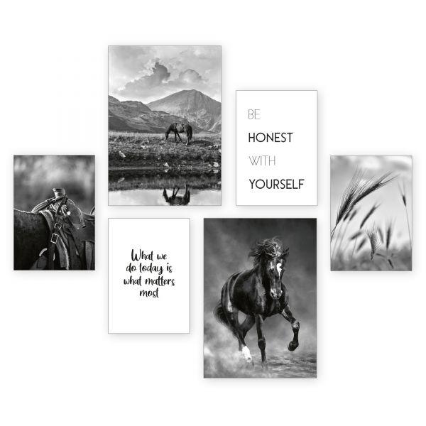 """Black Horse"" 6-teiliges Poster-Set - optional mit Rahmen - 2 x DIN A3 & 4 x DIN A4"