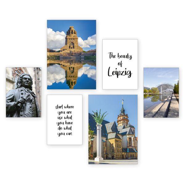 """Leipzig"" 6-teiliges Poster-Set - optional mit Rahmen - 2 x DIN A3 & 4 x DIN A4"