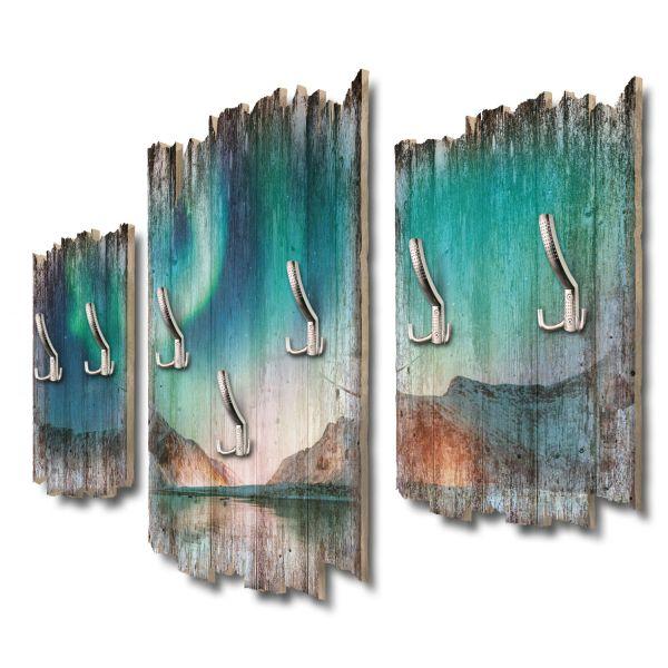 Nordlicht Eismeer Shabby chic 3-Teiler Garderobe aus MDF
