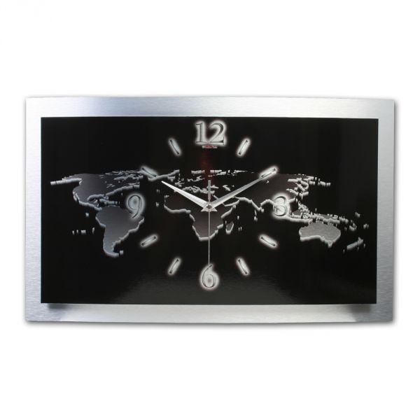 3D Wanduhr Weltkarte black aus gebürstetem Aluminium mit leisem Funkuhrwerk