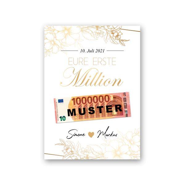 Personalisiertes Poster | Erste Million | Geldgeschenk Hochzeit | optional mit Rahmen | A4 oder A3