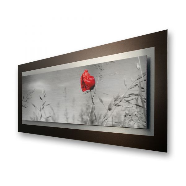 "3D Alu-Wandbild ""Mohnblume"" aus gebürstetem Aluminium"