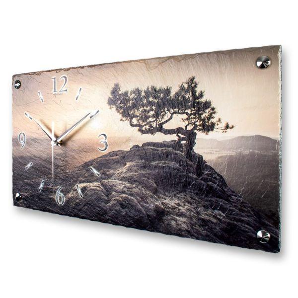 """Designer Wanduhr """"Einsamer Baum"""" aus echtem Naturschiefer mit leisem Funk- oder Quarzuhrwerk"""