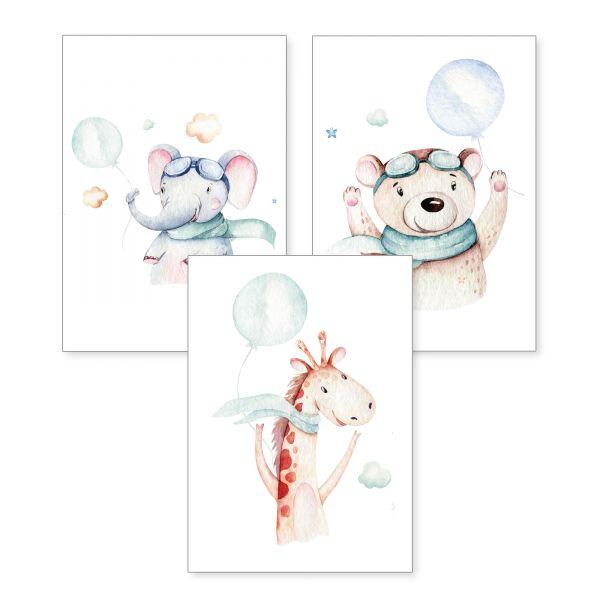 3-teiliges Poster-Set | Elefant & Friends | optional mit Rahmen | DIN A4 oder A3