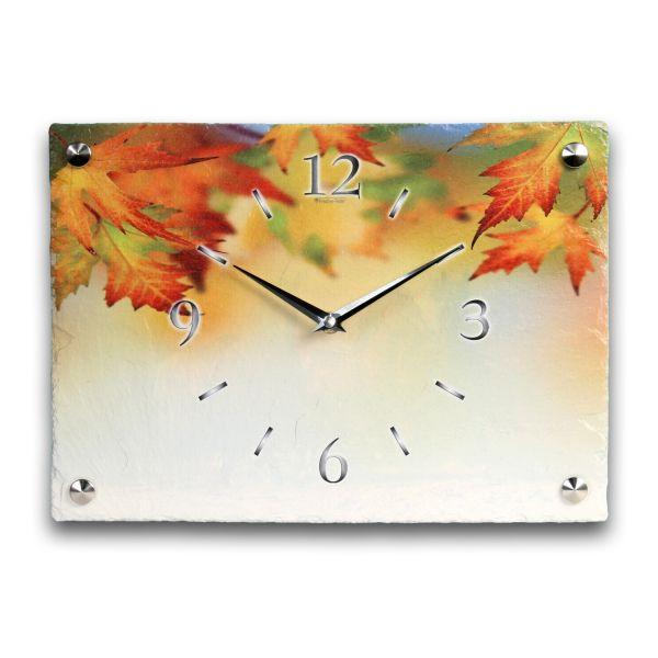 Herbstlaub Designer Funk-Wanduhr aus echtem Naturschiefer mit leisem Funk- oder Quarzuhrwerk
