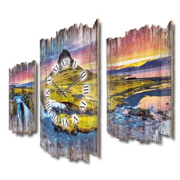 Berg Kirkjufell Wasserfälle Shabby chic Dreiteilige Wanduhr aus MDF mit leisem Funk- oder Quarzuhrwe