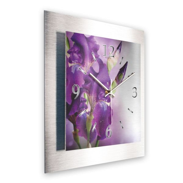 """3D Wanduhr """"Violette Orchideen"""" aus gebürstetem Aluminium mit leisem Funk- oder Quarzuhrwerk"""