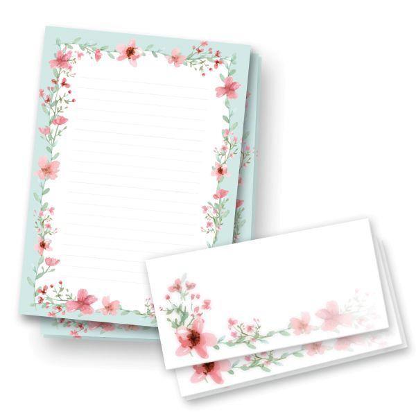 Briefpapier-Set | Rote Blüten | 25x DIN A4 Briefpapier liniert mit passenden Umschlägen