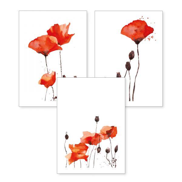 3-teiliges Poster-Set   Mohnblumen   optional mit Rahmen   DIN A4 oder A3