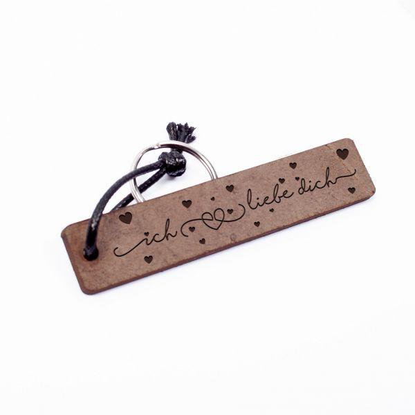 Schlüsselanhänger Rechteck aus Echtleder mit Gravur im Used Look | ich liebe dich
