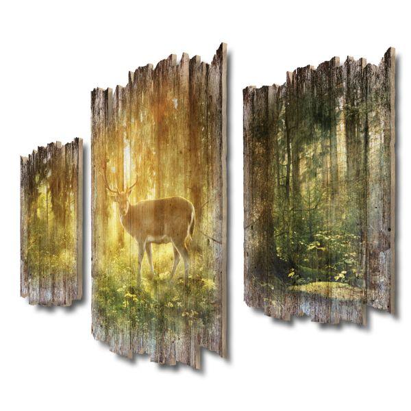 Herr des Waldes Shabby chic 3-Teiler Wandbild aus Massiv-Holz
