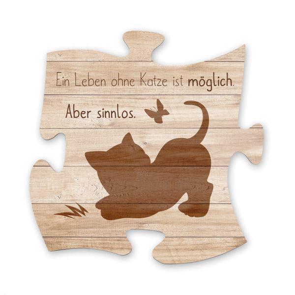 Katze | Deko-Schild Holz-Puzzleteil ca. 30cm x 30cm | Shabby Chic Design