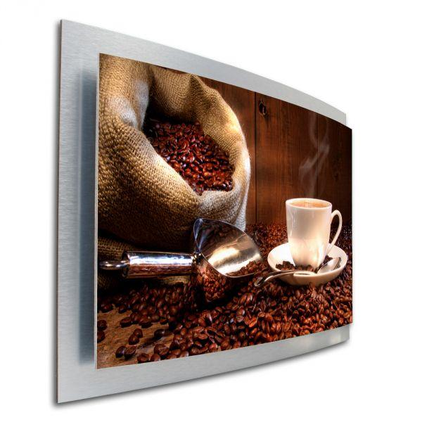 3D Wandbild Kaffee Genuss aus gebürstetem Aluminium