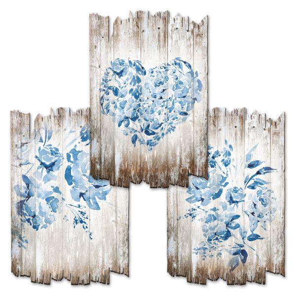 Blaue Rosen | Deko-Holzschilder im 3er Set | wahlw. in 30x20cm oder 30x45cm