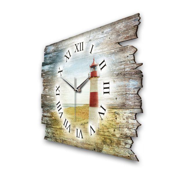 """Designer Funk-Wanduhr """"Leuchtturm Rot Weiß"""" aus Naturholz mit leisem Funk- oder Quarzuhrwerk"""