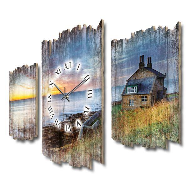Haus am Meer Shabby chic Dreiteilige Wanduhr aus MDF mit leisem Funk- oder Quarzuhrwerk