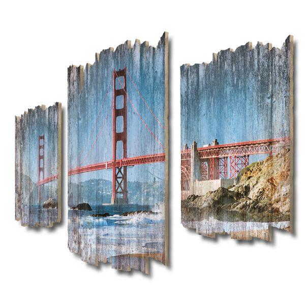 Golden State Bridge Shabby chic 3-Teiler Wandbild aus Massiv-Holz
