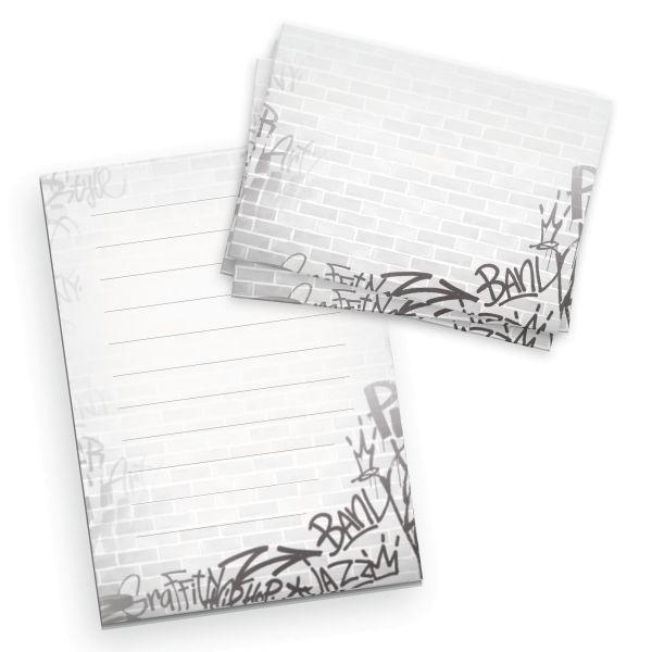 Briefpapier-Set für Kinder | Graffiti | DIN A5 Briefpapier-Block 50 Blatt mit 20 Umschlägen
