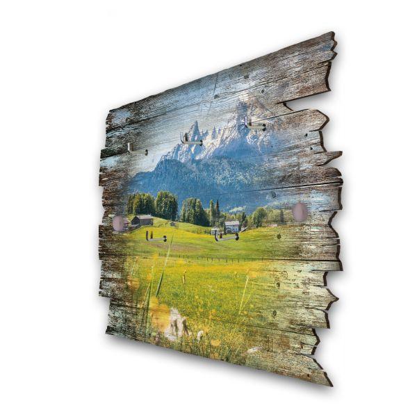 Alpenblick Schlüsselbrett mit 5 Haken im Shabby Style aus Holz