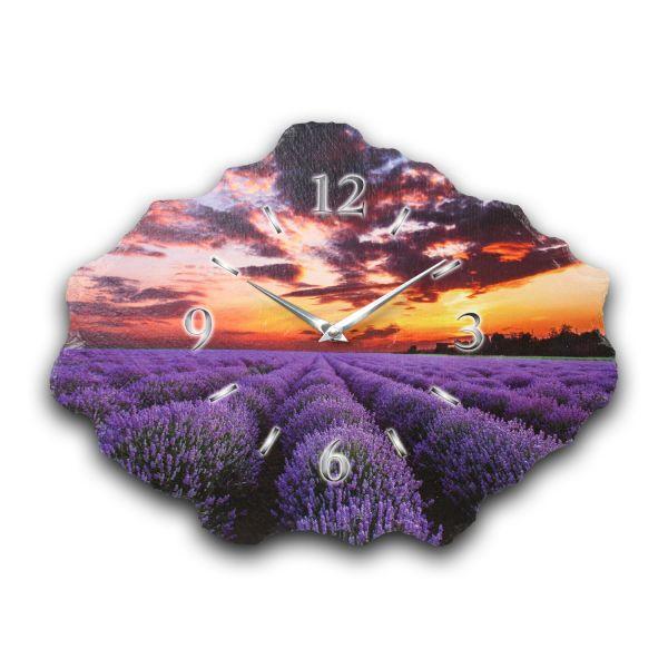 Lavendel Designer Funk-Wanduhr aus echtem Naturschiefer mit leisem Funkuhrwerk