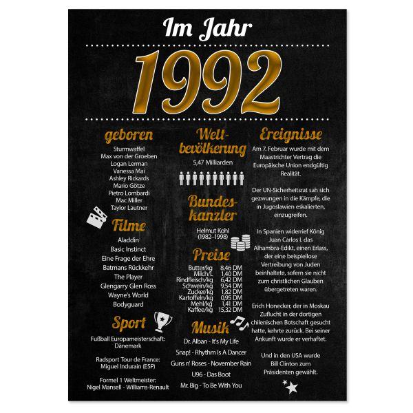 1992 Poster | für Geburtstag, Jubiläum oder Hochzeitstag | Party-Schild | A4 oder A3