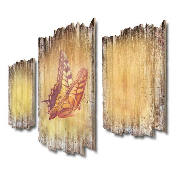 Schmetterling Shabby chic 3-Teiler Wandbild aus Massiv-Holz