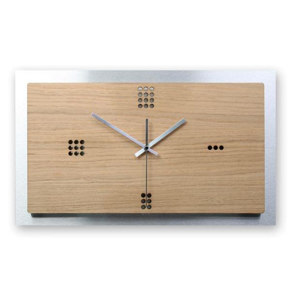 Designer Wanduhr aus Holz und Alu mit leisem Funk- oder Quarzuhrwerk
