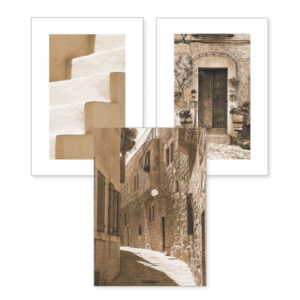 3-teiliges Poster-Set | Altstadt | optional mit Rahmen | DIN A4 oder A3