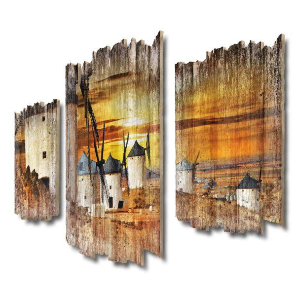 Windmühlen bei Sonnenuntergang Shabby chic 3-Teiler Wandbild aus Massiv-Holz