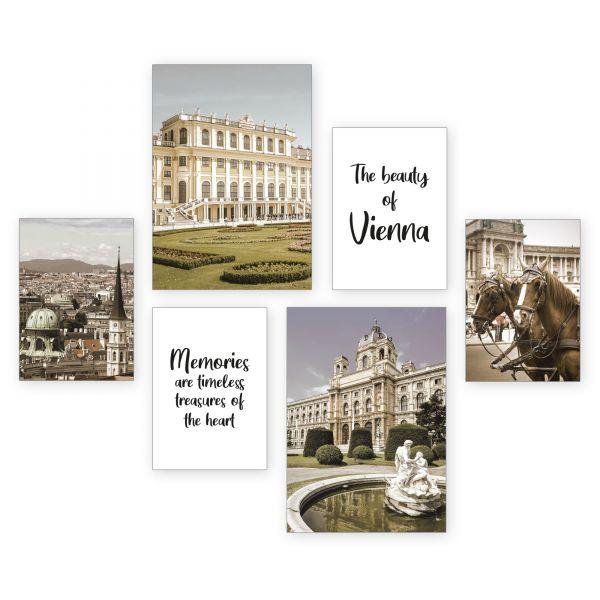 """Wien"" 6-teiliges Poster-Set - optional mit Rahmen - 2 x DIN A3 & 4 x DIN A4"